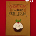 Handmade Christmas Card with Crochet Ornament - Brown