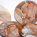 Coral pink and gold coaster set