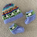 Blue sheep beanie and Matching Booties - up to 4 months - Hand knitted