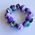 """Mostly Purple Polymer Clay Stretch Bracelet """"Lavender Daze"""""""