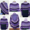 Crochet Asymmetrical Circular Poncho / Shawl in shades of Purple - FREE Shipping