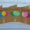 Handmade Birthday Card with Crochet Decoration - Balloons