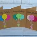 Handmade Birthday Card with Crochet Decoration - Balloons