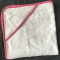 New Born Hooded Bath Towel White on Pink Spots