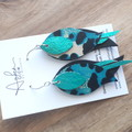 """Swoop"" Leopard, Black/Aqua, Genuine Leather, Stainless Steel Earrings"