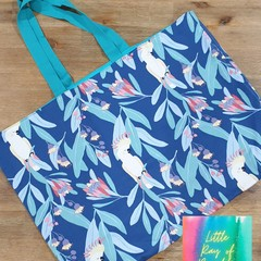 Cockatoos in the gum leaves tote bag