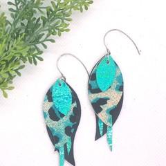 """""""Swoop"""" Leopard, Black/Aqua, Genuine Leather, Stainless Steel Earrings"""