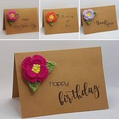 Handmade Card with Crochet Peony Rose Brooch