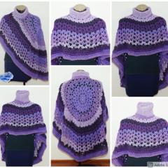 Crochet Asymmetrical Circular Poncho / Shawl in shades of Purple - FREE Shipping