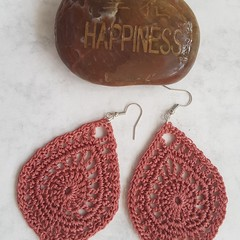 Large Lace Crochet Tear Drop Earrings
