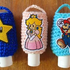 Mario Crochet Hand Sanitizer Pouches