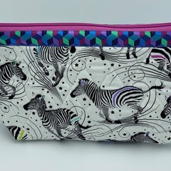 Large Zipper Pouches-Dancing Zebra