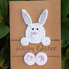 Handmade Easter Card with Crocheted Bunny