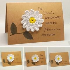 Handmade Greeting Card with Crochet Daisy