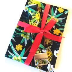 ➕GIFT SET➕ Passport Cover & Key wristlet Set / NATIVE PLANTS - Yellow x Black /