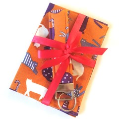 ➕GIFT SET➕ Passport Cover & Key wristlet Set / ORANGE - Cat