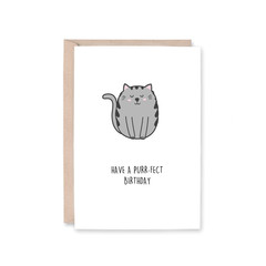 Purr-fect Birthday Card | Cat, Kitten | Birthday (Funny, Pun, Recycled)