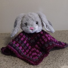 Baby Bunny Lovey ..Hand Crocheted lLovey Blanket with purchased Bunny