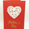 Handmade Mother's Day Card with Crocheted Lace Heart