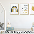 "YOU ARE MY SUNSHINE  (BLUE)  prints -Set of 3  Art Prints -  8x10"" in size"