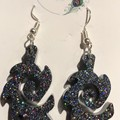 Resin FLAME Drop Earrings ~ Glitter~ Variety of colours