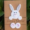 Handmade Easter Card with Crocheted Bunny