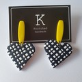 Black/white/yellow large dangle