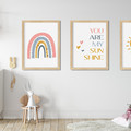 "YOU ARE MY SUNSHINE  (PINK)  prints -Set of 3  Art Prints -  8x10"" in size"