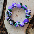 "Mostly Purple Polymer Clay Stretch Bracelet ""Lavender Daze"""