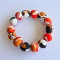Red, Gold & White Polymer Clay Stretch Bracelet