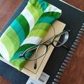 Fabric Glasses Sleeve / Padded Glasses case / GROOVY GREEN / Gift for mum