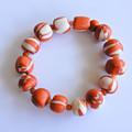 "Caramel & White Polymer Clay Stretch Bracelet ""Caramel Fudge"""