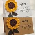 Handmade Greeting Card with Crochet Sunflower