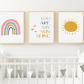 """YOU ARE MY SUNSHINE  (PINK)  prints -Set of 3  Art Prints -  8x10"""" in size"""