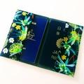 ➕GIFT SET➕ Passport Cover & Key wristlet Set / NATIVE PLANTS - Yellow x Black /