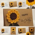Handmade Greeting Card with Crochet Sunflower