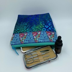 Small Zipper Pouches-Leopard Blue