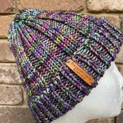 Handmade knitted purple rainbow beanie, green merino beanie, mens beanie, ladies