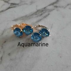 Swarovski Rivoli Crystal earrings Aquamarine