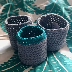 Crochet Basket, Pot-Plant Holder | T-Shirt Yarn |  Various | Postage Included!
