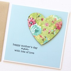 Mother's Day Card, Personalised, Peach Floral Heart, Mum, Oma, Nanna, Nanny, Ma