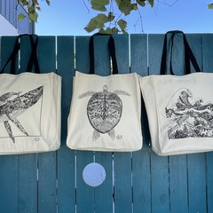 Life Under the Waves - Canvas Tote Bag (40x37cm)