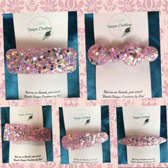 Hair Clips ~ Resin ~  Cute Glitter ~ Barrette Clip