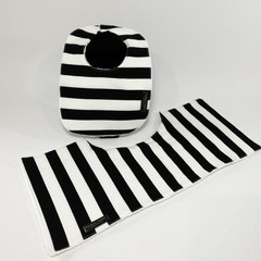 Baby Bib & Burp Cloth Gift Set | Black and White Stripes | Collingwood