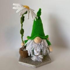 Bright green dwarf with potted daisy, Amigurumi model