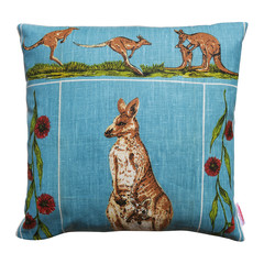Vintage Retro Australian Kangaroos Cushion