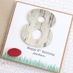 Personalised Aussie Rules Footy Birthday Card, Football Card, Any Age Card