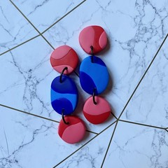 Three Tier Dangle Drops Red and Blue - Polymer Clay Earrings
