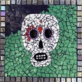 Mosaic garden paver. Day of the Dead.