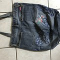 Hummingbird- One of a kind denim tote bag  Fully upcycled,  handmade